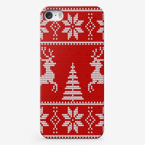 Чехол iPhone «Свитер с оленями (красный)»