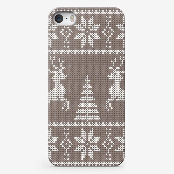 Чехол iPhone «Свитер с оленями (какао)»
