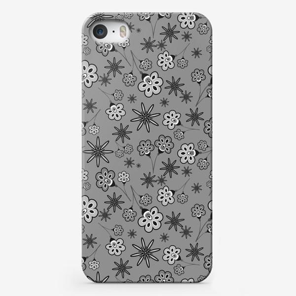 Чехол iPhone «Черно-белый паттерн с цветами.»