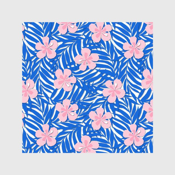 Шторы «Тропики. Тропический цветок. Тропические цветы. Ветви пальмы. Пальмовый лист. Листья и бутон цветка.»