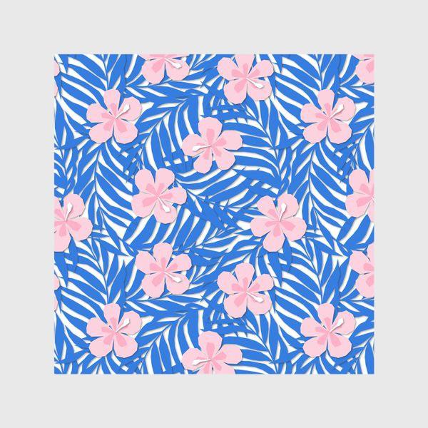 Скатерть «Тропики. Тропический цветок. Тропические цветы. Ветви пальмы. Пальмовый лист. Листья и бутон цветка.»