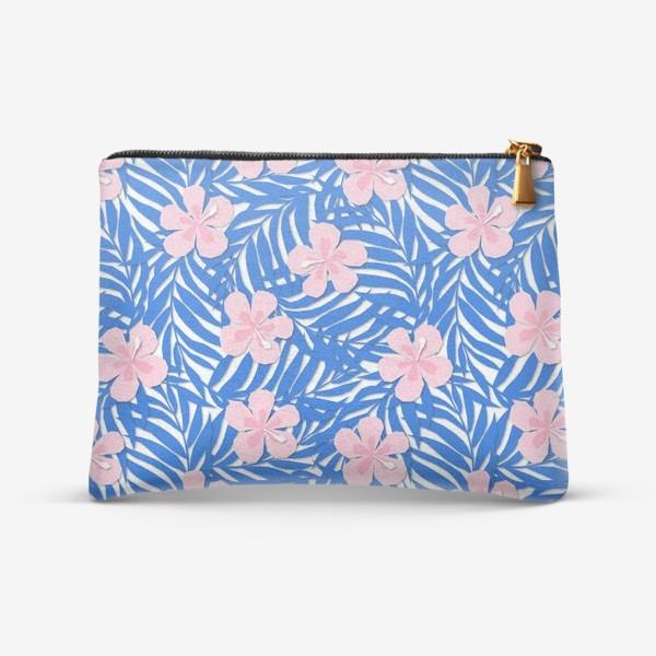 Косметичка «Тропики. Тропический цветок. Тропические цветы. Ветви пальмы. Пальмовый лист. Листья и бутон цветка.»