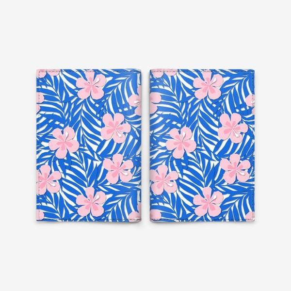 Обложка для паспорта «Тропики. Тропический цветок. Тропические цветы. Ветви пальмы. Пальмовый лист. Листья и бутон цветка.»
