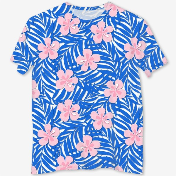 Футболка с полной запечаткой «Тропики. Тропический цветок. Тропические цветы. Ветви пальмы. Пальмовый лист. Листья и бутон цветка.»