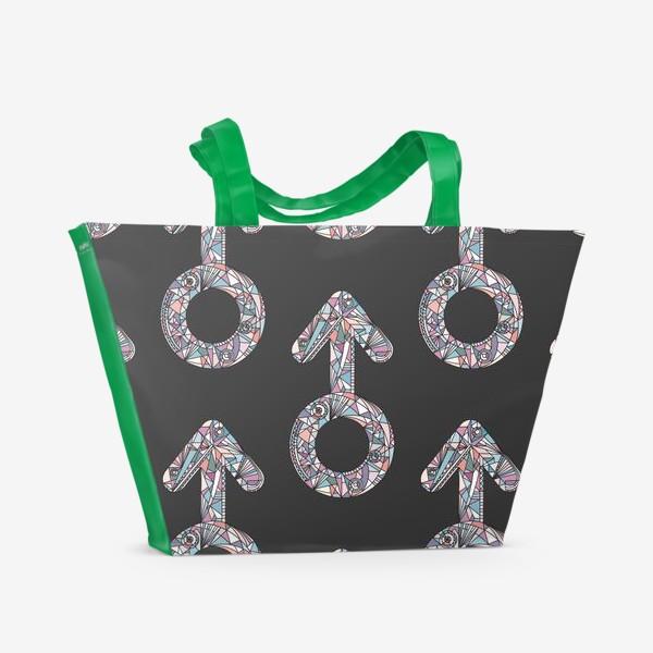 Пляжная сумка «Мужской знак паттерн»