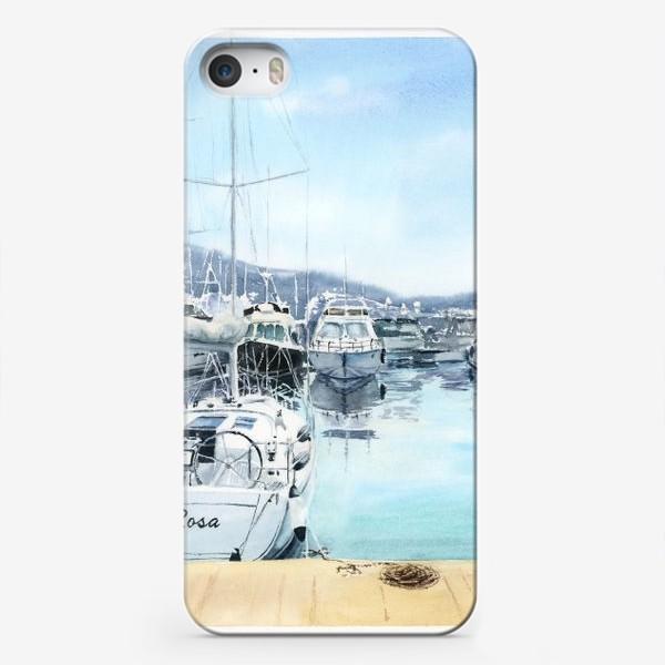 Чехол iPhone «Пейзаж с яхтами в море. Черногория»