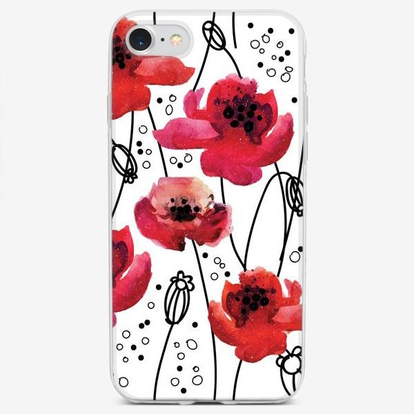Чехол iPhone «узор с цветущими маками»