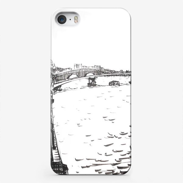 Чехол iPhone «Tourist boat on the Neva River at the background of the Winter Palace and  Rostral column. Black ink-drawing of St. Petersburg landmark»