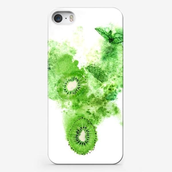 Чехол iPhone «Сочные киви, свежая мята и зеленая акварель на белом фоне.»