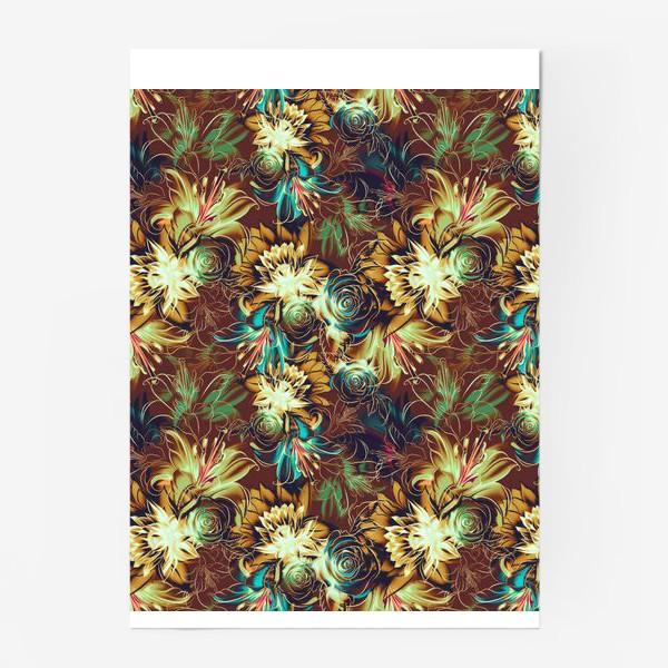 Постер «Абстрактный бесшовный паттерн с цветами. Летняя текстура с лилиями, розами, ромашками и хризантемами»