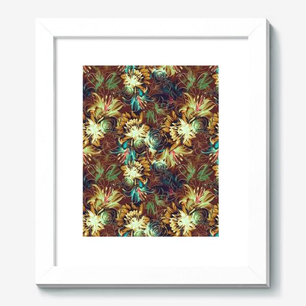 Картина «Абстрактный бесшовный паттерн с цветами. Летняя текстура с лилиями, розами, ромашками и хризантемами»