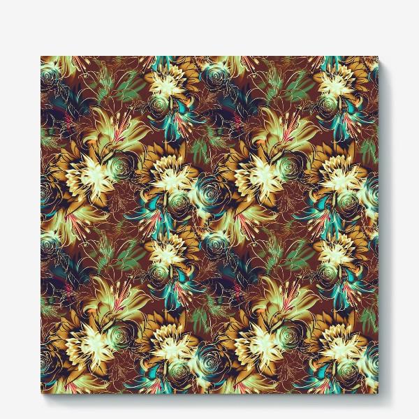Холст «Абстрактный бесшовный паттерн с цветами. Летняя текстура с лилиями, розами, ромашками и хризантемами»