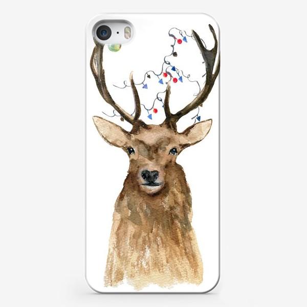 Чехол iPhone «Лось новогодний 2»