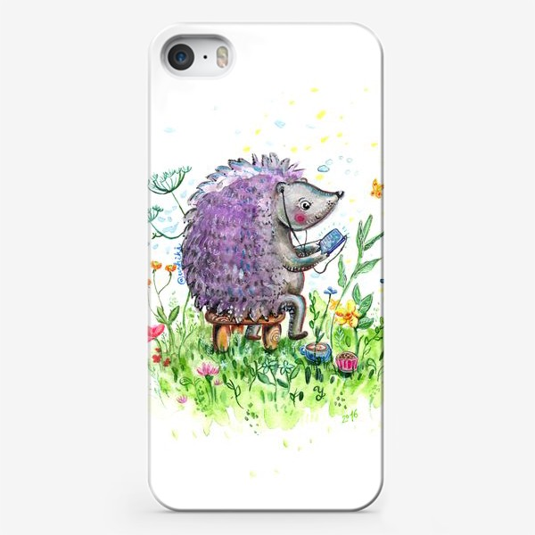 Чехол iPhone «Ежик со смартфоном»