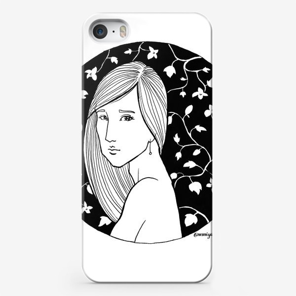 Чехол iPhone «Девушка в цветах, белое»
