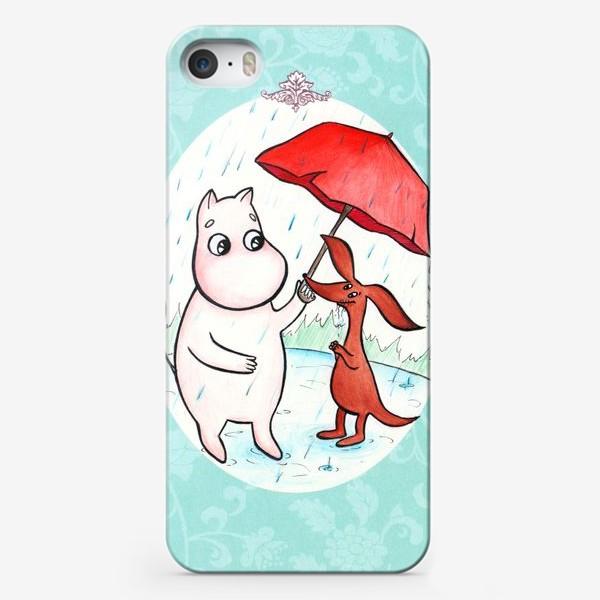 Чехол iPhone «Муми-тролль и дождь»