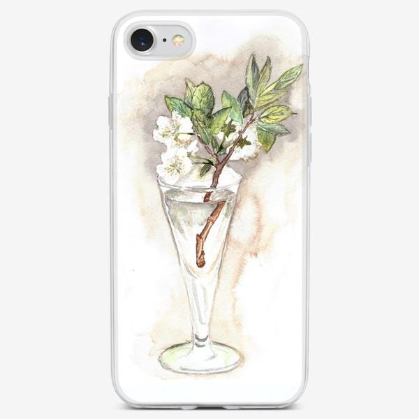 Чехол iPhone «нежный веточка цветок вишни в прозрачном бокале»