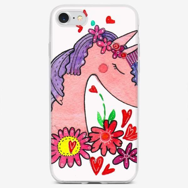 Чехол iPhone «Единорог Розочка»