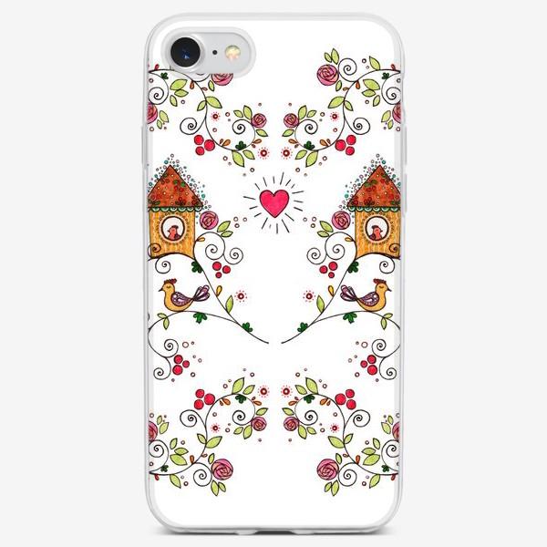 Чехол iPhone «Птички, сердечки, домики (2)»