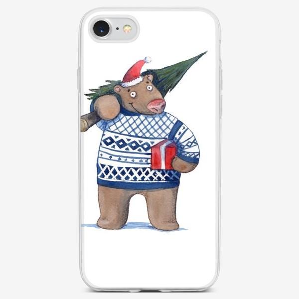 Чехол iPhone «медведь с новогодней елкой»
