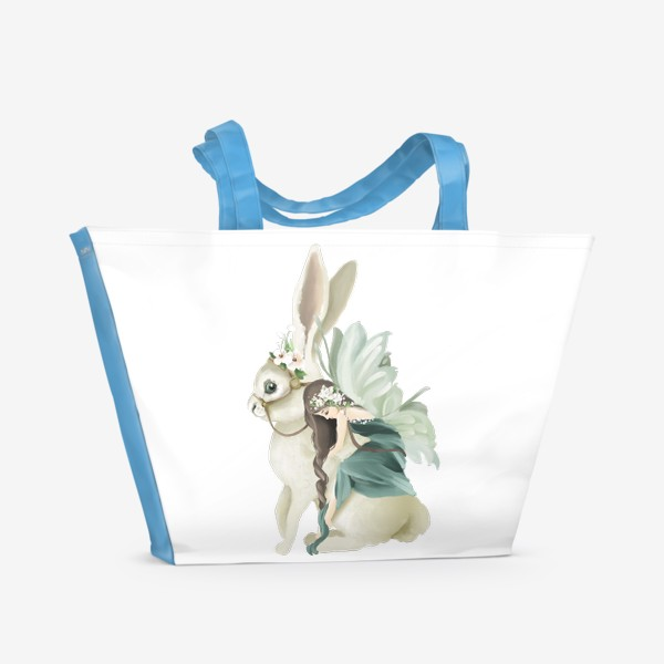 Пляжная сумка «Фея на зайце»