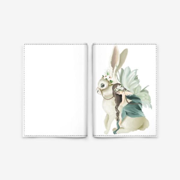 Обложка для паспорта «Фея на зайце»