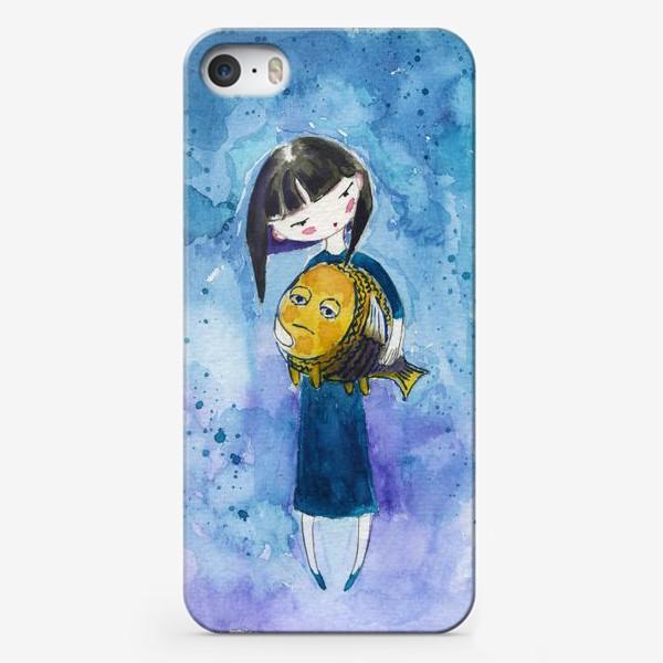 Чехол iPhone «Девочка и рыба 1»