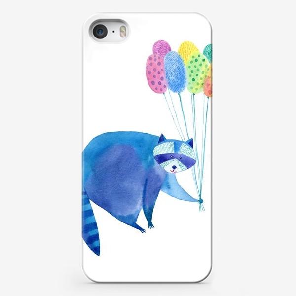 Чехол iPhone «Енот и воздушные шары»