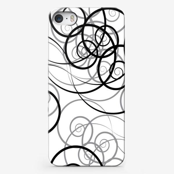 Чехол iPhone «Бесшовный черно-белый паттерн с закручивающимся узором. Seamless black and white pattern with a twist pattern»