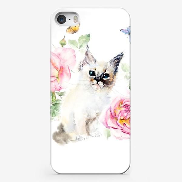 Чехол iPhone «Котенок с розами и бабочками»