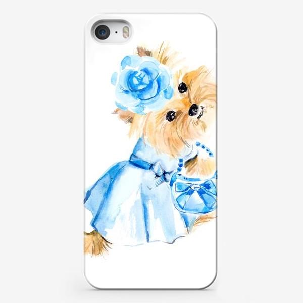 Чехол iPhone «Йорк в голубом платье»