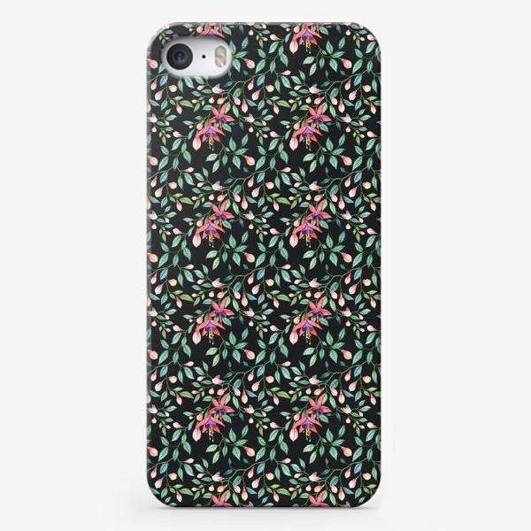 Чехол iPhone «Цветок Фуксия на чёрном фоне. Бесшовный паттерн»