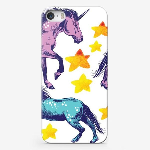 Чехол iPhone «единороги и звёзды»