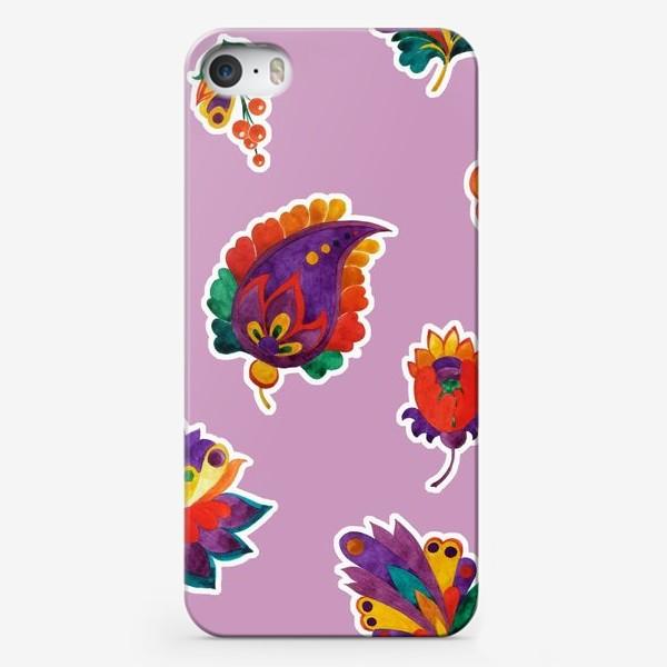 Чехол iPhone «Яркие фантазийные цветы на нежном сиреневом фоне»