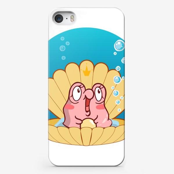 Чехол iPhone «Кавайная ракушка с розовой улиткой. Мультяшный стиль»