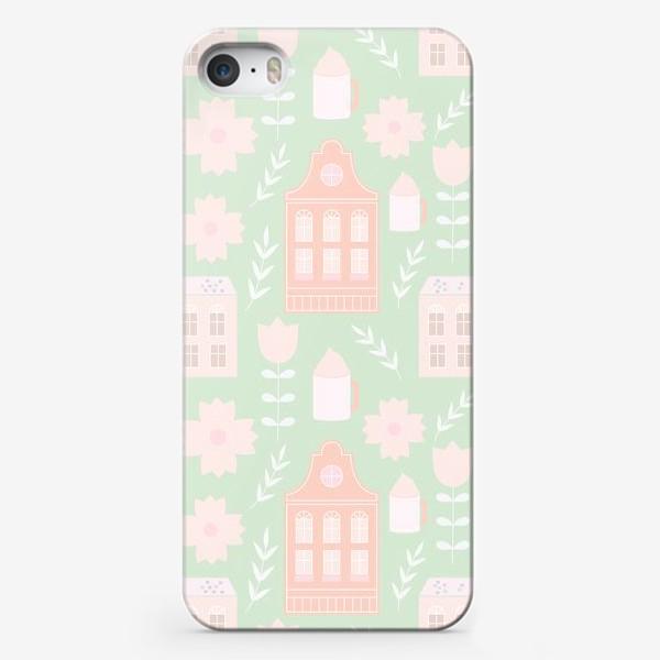 Чехол iPhone «Голландские домики. Мятный и персиковый.»