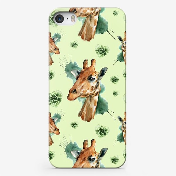 Чехол iPhone «зеленый паттерн с жирафами»