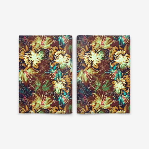 Обложка для паспорта «Абстрактный бесшовный паттерн с цветами. Летняя текстура с лилиями, розами, ромашками и хризантемами»
