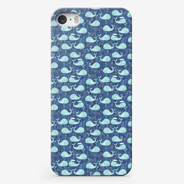 Чехол iPhone «Киты-матросы и якоря»