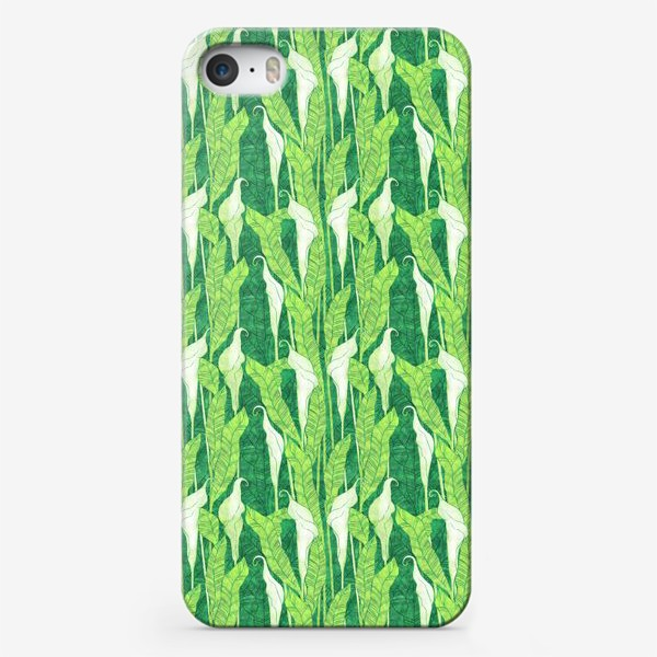 Чехол iPhone «Каллы на зелёном»