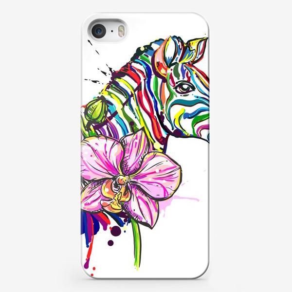 Чехол iPhone «Разноцветная зебра и орхидея»