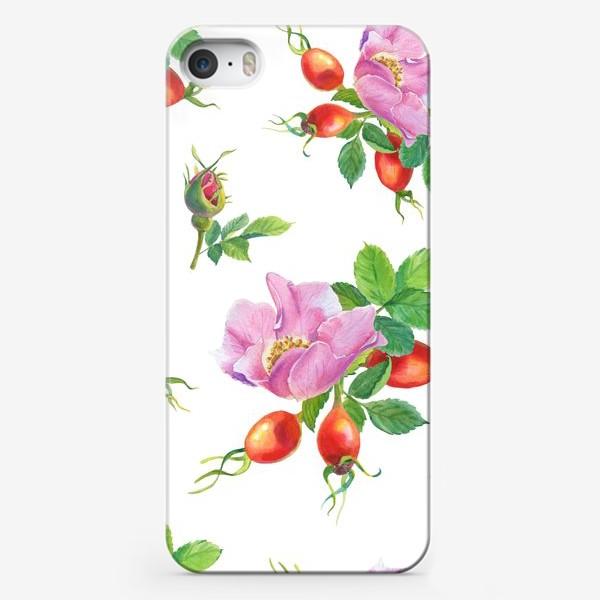 Чехол iPhone «Цветы и ягоды шиповника.Бесшовный узор.»