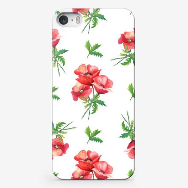 Чехол iPhone «Романтичный узор с акварельными маками.»