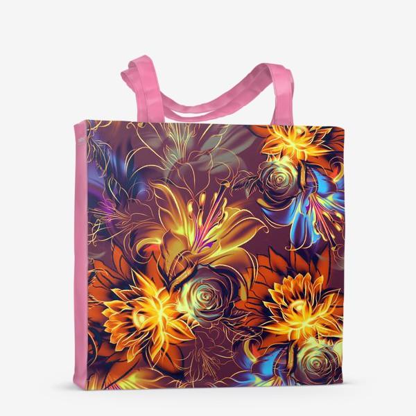 Сумка-шоппер «Абстрактный бесшовный паттерн с цветами. Летняя текстура с лилиями, розами, ромашками и хризантемами»