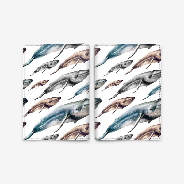 Обложка для паспорта «Паттерн с китами»