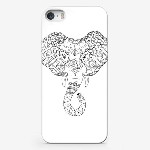 Чехол iPhone «Зентангл слон»