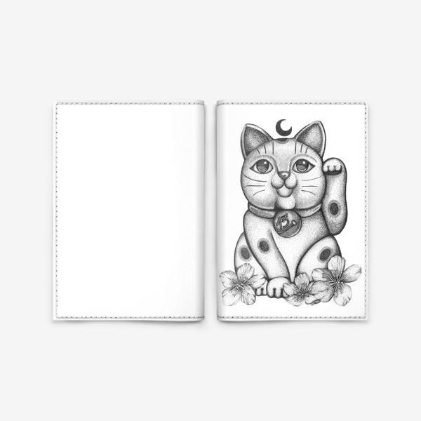 """Обложка для паспорта « Талисман """"Кот удачи Манеки Неко""""»"""