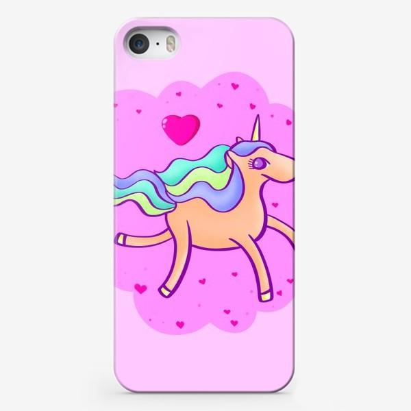 Чехол iPhone «Персиковый единорог в розовом облаке с сердечками»
