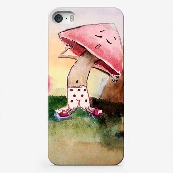 Чехол iPhone «Лесной утренний сонный гриб с кофе»
