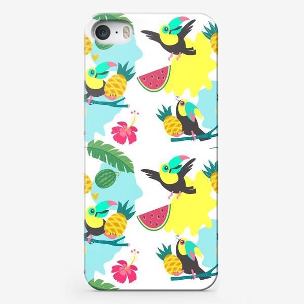 Чехол iPhone «Тропический фон, милые туканы, экзотические цветы и фрукты»